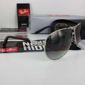 NIB Ray-Ban RB3393 Silver Gray Aviator Sunglasses